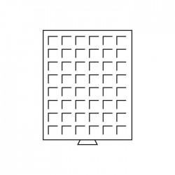 Médailler 48 cases carrées de 30 x 30 mm bordeaux