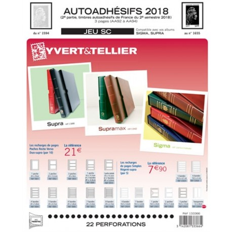 Jeu SC France 2018 Auto adhésifs 2ème semestre YVERT ET TELLIER