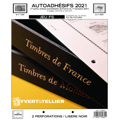 Jeu France FS 2021 1er semestre - Auto adhésifs YVERT ET TELLIER