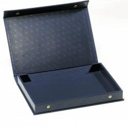 Coffret en simili cuir bleu vide pour 4 plateaux