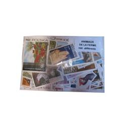 100 timbres Animaux de la ferme