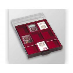 Médaillier 9 compartiments carrés pour capsules numismatiques