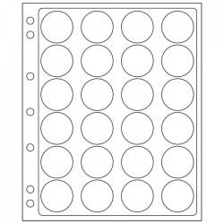 Pochettes plastique ENCAP, transparentes pour 24 capsules de diamètre intérieur de34 à 35 mm