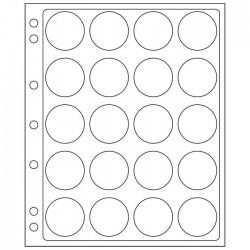 Pochettes plastique ENCAP, transparentes pour 20 capsules de diamètre intérieur de 38 à 39 mm