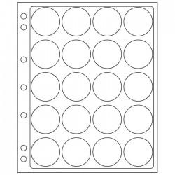 Pochettes plastique ENCAP, transparentes pour 20 capsules de diamètre intérieur de 39 à 41 mm