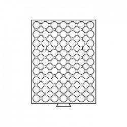 Médailler 63 cases pour pièces sous capsules de 16.5 mm intérieur