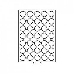 Médailler 42 cases pour pièces sous capsules de 24.5 mm intérieur