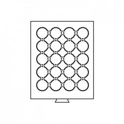 Médailler 24 cases pour pièces sous capsules de 34/35 mm intérieur