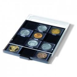 Médailler 20 capsules carrées Qadrum avec insertions noires