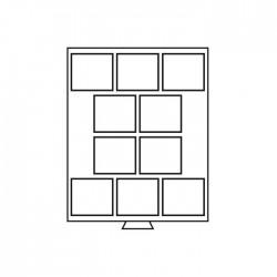 Médailler 3 cases carrées de 100 x 160 mm