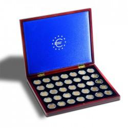 Coffret  en bois pour 35 pièces de 2 euros sous capsules