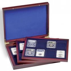 Coffret  en bois à compartiments carrés pour 98 monnaies - Mix
