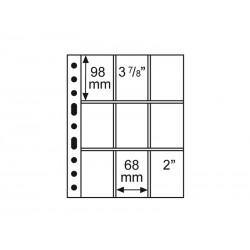 Feuilles GRANDE 9 poches transparentes - 68x98 mm - 3/3C