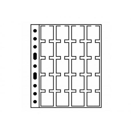 Pochettes plastiques 20 cases pour pièces de monnaie sous étui