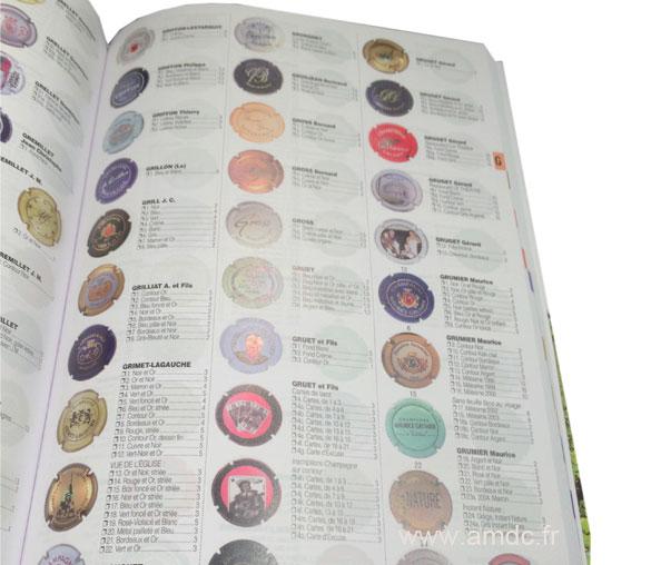 page intérieur du catalogue lamert 2017 avec cotation des plaques de muselet de champagne